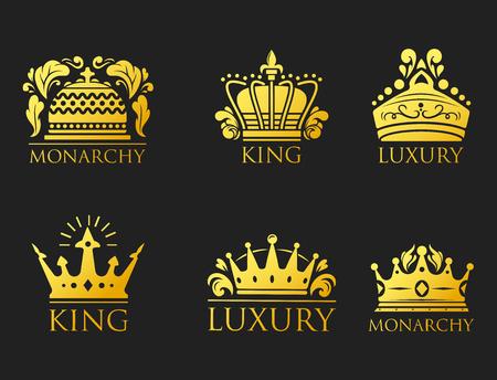 Crown king vintage premium golden badge heraldic ornament luxury kingdom sign vector illustration.