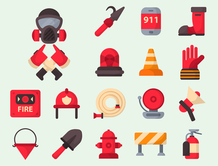 Fire safety equipment emergency tools firefighter safe danger accident protection vector illustration. Ilustrace