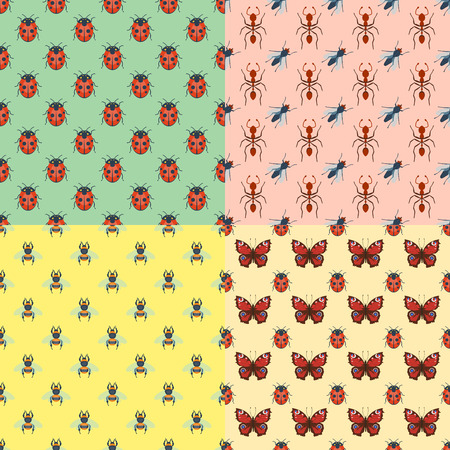 Colorful insects seamless pattern wildlife wing detail summer bugs wild vector illustration