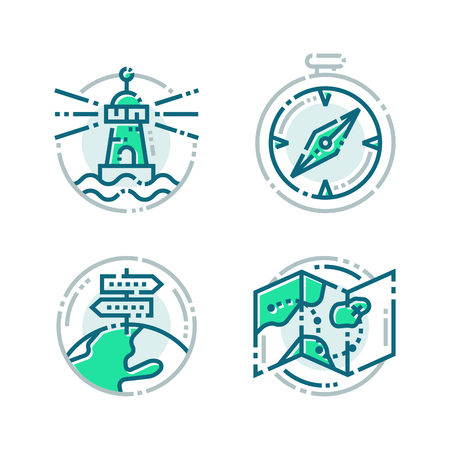 Navigation direction maps sign traffic and more thin line icons set vector illustration Çizim