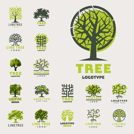 Boom openlucht reis groen silhouet bos badge naald natuurlijke badge tops lijn sparren vector. Stock Illustratie