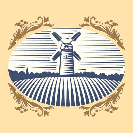 rural road: Retro landscape windmill vector illustration farm house agriculture graphic antique drawing.