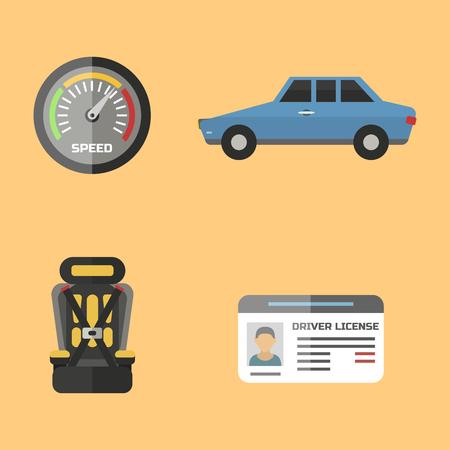 Auto Transport Autofahrer Symbol Symbol Fahrzeug Ausrüstung Service Auto Fahrer Werkzeuge Vektor-Illustration.