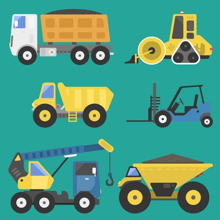 Construction delivery truck transportation vehicle mover road machine equipment vector.