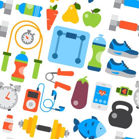 Estilo de vida saludable diario comer iconos y deporte zapatillas de estilo de vida fitnes patrón transparente ilustración vectorial de fondo. Foto de archivo - 77613013