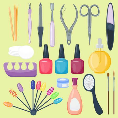 Manicure nail instruments tools vector illustration isolated