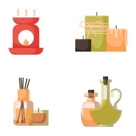 Vector illustrations of beautiful woman spa treatment beauty procedures wellness icons.
