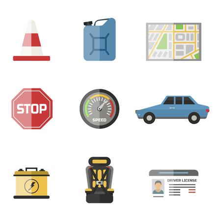 Auto-transport moto icon symbol véhicule équipement service véhicule voiture outils illustration vectorielle. Banque d'images - 77684305