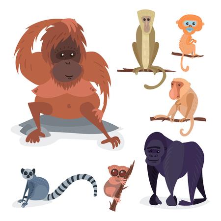 Divers pains singe personnage animal sauvage zoo ape chimpanzé illustration vectorielle. Banque d'images - 77738382