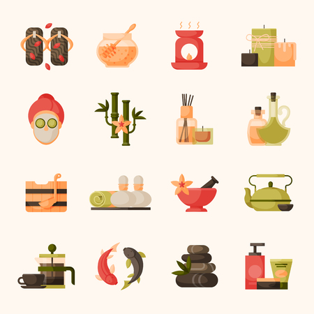 Vector illustrations of beautiful woman spa massage treatment, beauty procedures wellness icons. Illustration