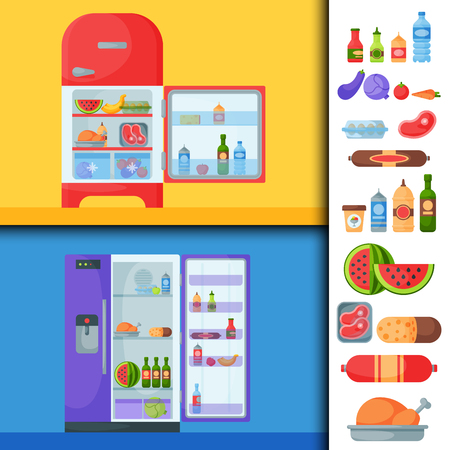 Refrigerator organic food kitchenware household utensil fridge appliance freezer vector illustration. Reklamní fotografie - 77738659