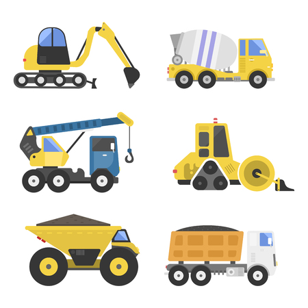 Construction delivery truck transportation vehicle mover road machine equipment vector. Stock Vector - 77769587