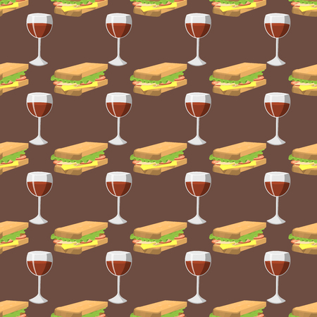 toasted: Sandwiches with wine glass seamless pattern healthy fast breakfast delicious dinner vector illustration. Illustration