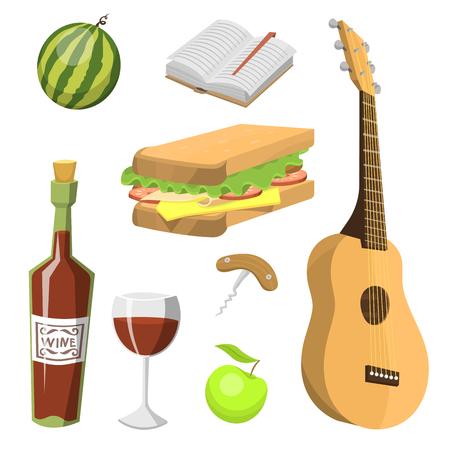 野餐篮子与食物放松度假集装箱午餐夏季餐矢量插图