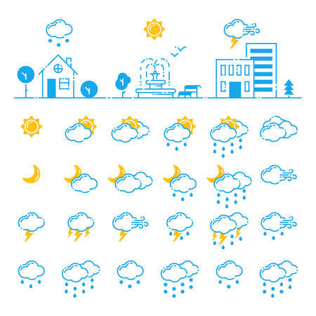 Set of weather icons vector illustration season outline design thunder temperature sign Vettoriali