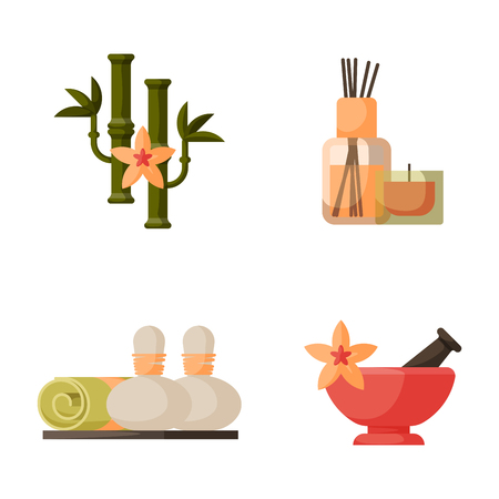 Vector illustrations of beautiful woman spa treatment, beauty procedures wellness icons.