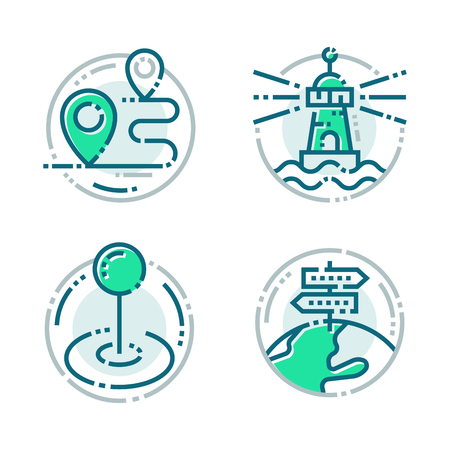 Navigation direction maps sign traffic and more thin line icons set vector illustration Illusztráció