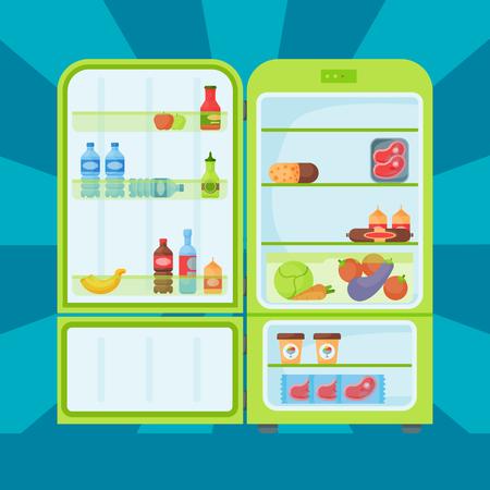 냉장고 유기농 식품 주방 용품 가정용 냉장고 냉장고 어플 라 이언 스 냉동고 벡터 일러스트 레이 션.