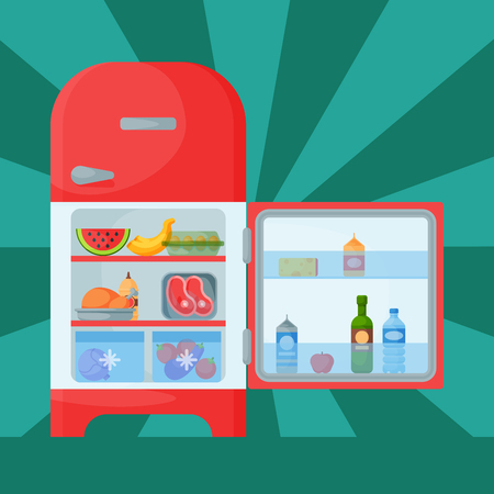 Refrigerator organic food kitchenware household utensil fridge appliance freezer vector illustration.