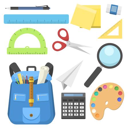 Schule Tasche Rucksack voller Versorgung Kinder stationären Reißverschluss Bildungs-Sack Vektor-Illustration. Standard-Bild - 77887269