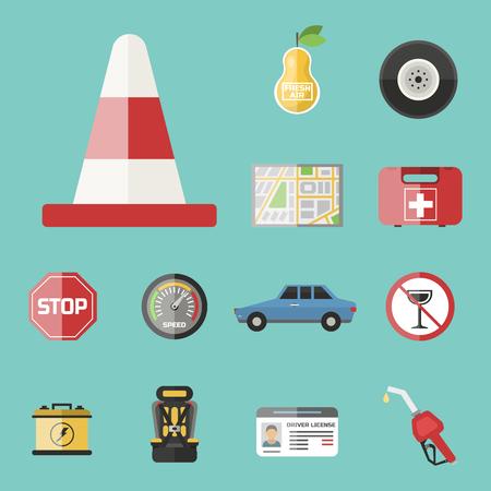 Auto vervoer automobilist pictogram symbool voertuig apparatuur service auto bestuurder tools vector illustratie. Stockfoto - 77919723