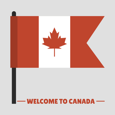 Canada country flag symbol maple leaf canadian freedom nation decoration vector illustration