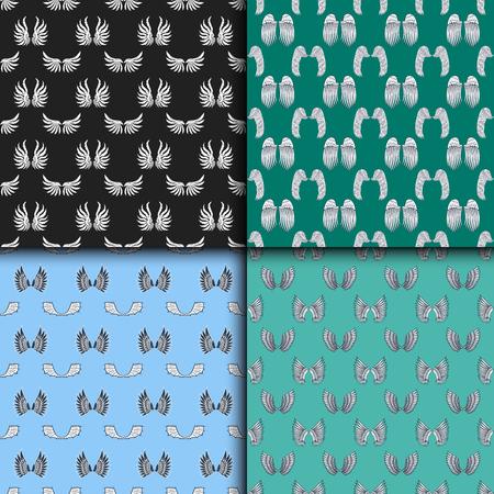 Wings seamless pattern animal feather pinion bird freedom peace design vector illustration.