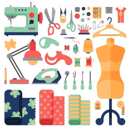 A linha fornece acessórios do passatempo que costuram o equipamento que costura a ilustração do vetor do bordado do ofício do pino da forma.