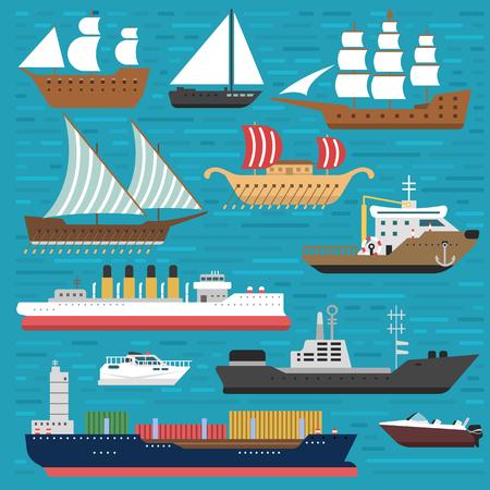 Schip kruiser boot zee symbool vaartuig reis industrie vector zeilboten cruise. Set van marine pictogram commerciële ontwerpelement. Export van watertransport voor zakenreizen. Stock Illustratie