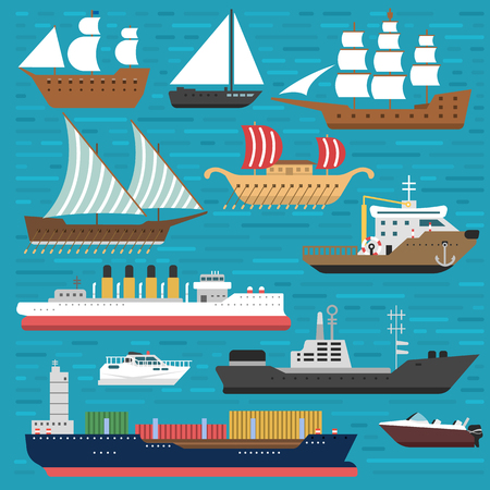Ship cruiser boat sea symbol vessel travel industry vector sailboats cruise. Set of marine icon commercial design element. Export business trade water cargo transportation. Иллюстрация