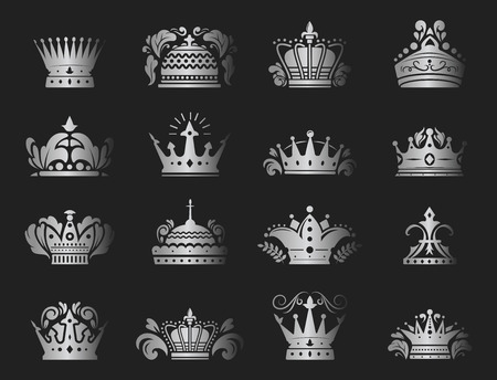 Crown king vintage premium silver badge heraldic ornament luxury kingdomsign vector illustration.