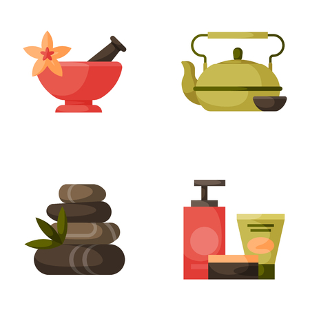 Vector illustrations of beautiful woman spa treatment, beauty procedures wellness icons. Stok Fotoğraf - 78011748