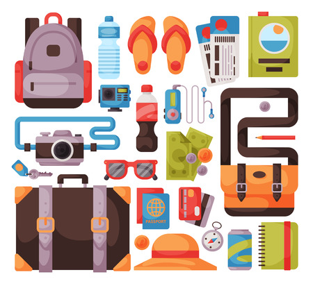 Travel time summer vacation vector accessory in flat style with traveling and tourism icons.