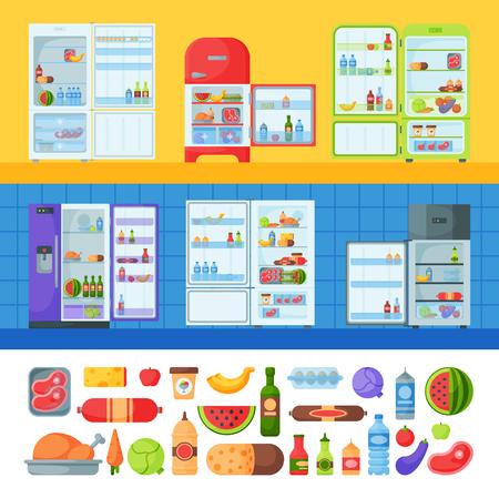 오픈 냉장고 유기농 식품 주방 가정용 냉장고 냉장고 어플 라 이언 스 냉동고 벡터 일러스트 레이 션. 일러스트