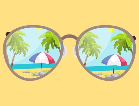 Summer time beach sea shore realistic accessory vector illustration sunshine travel