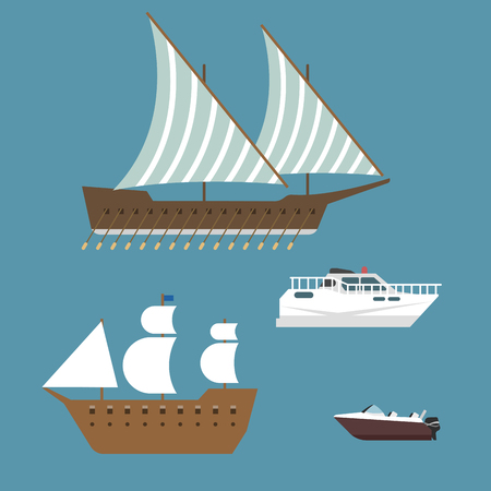 Ship boat sea symbol vessel travel industry vector sailboats cruise set of marine icon Stock Vector - 78034231