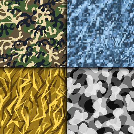 Creative universal hand drawn seamless pattern abstract fill military background vector illustration.