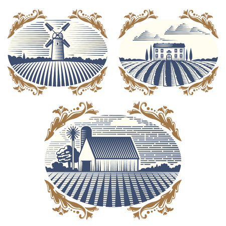 Retro landscapes vector illustration farm house agriculture graphic countryside scenic antique drawing.
