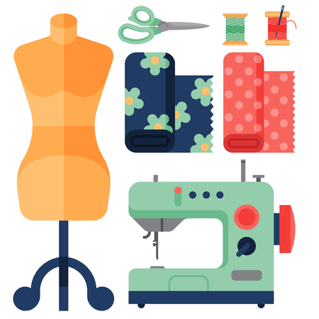 스레드 공급 액세서리 바느질 장비 패션 핀 공예 바느질 벡터 일러스트 레이 션을 조정합니다.