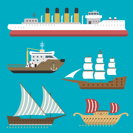 Ship boat sea symbol vessel travel industry vector sailboats cruise set of marine icon