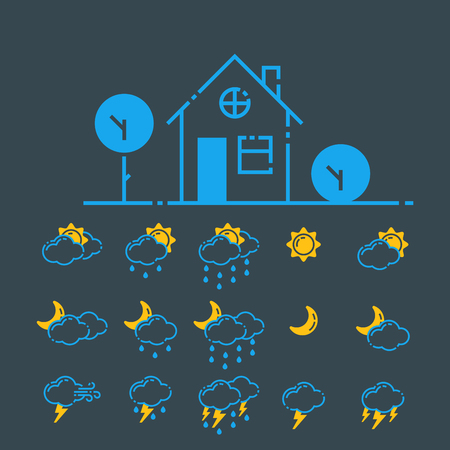 Set of weather icons vector illustration season outline design thunder temperature sign Stock Vector - 78086433