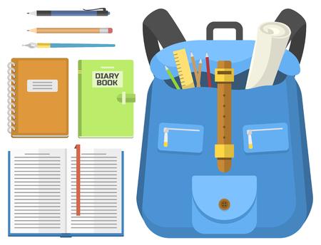Schultasche Rucksack voller liefert Kinder stationären Reißverschluss Tasche Vektor-Illustration Standard-Bild - 78167540