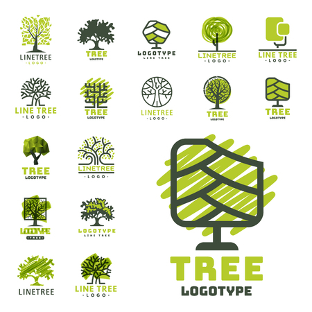 Tree outdoor travel green silhouette forest badge coniferous natural badge tops line spruce vector. Ilustração