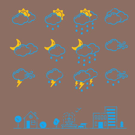 Set of weather icons vector illustration season outline design thunder temperature sign Illustration