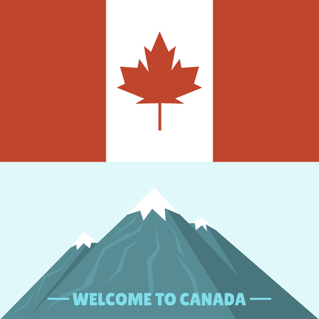 Canada country flag symbol maple leaf canadian freedom nation mountain vector illustration