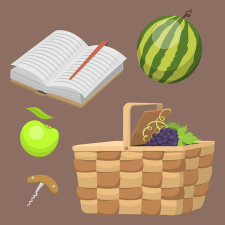 Picnic basket with food relaxation vacation container lunch summer meal vector illustration. healthy snack outdoor holiday natural ingredients.