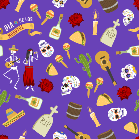 Day of the dead vector seamless patetrn