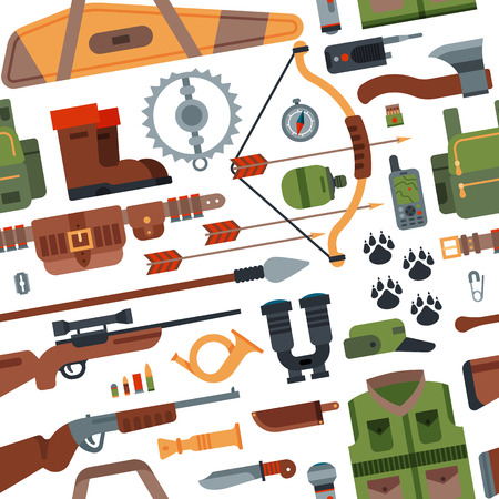 Hunting camping outdoor time vector seamless pattern background with guns