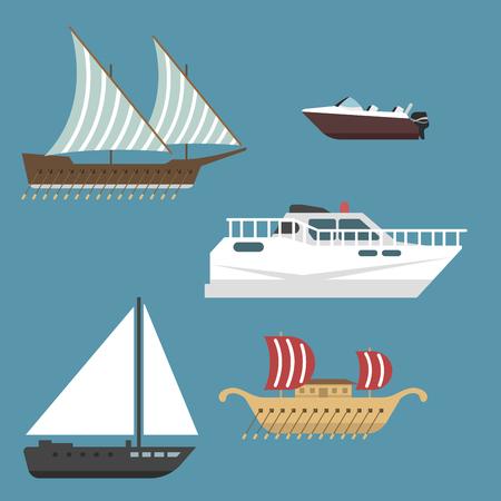 船ボート海シンボル船旅行業界ベクトル ヨット クルーズ海洋アイコンのセット