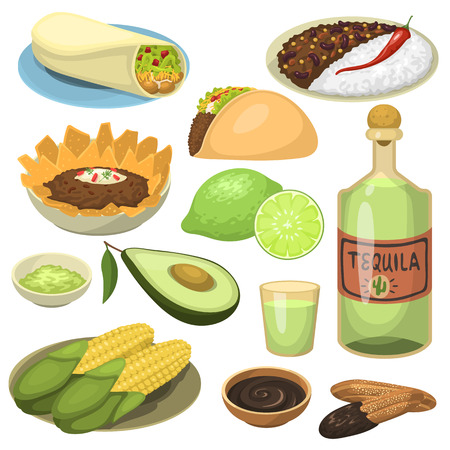 chips and salsa: Mexican traditional food meal plates isolated lunch sauce mexico cuisine vector illustration Illustration